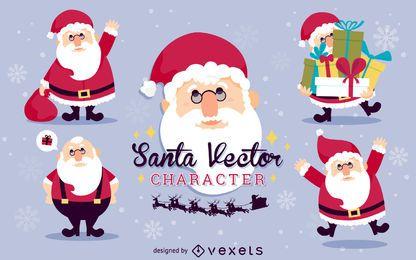 Flache Weihnachtsmann-Illustrationssatz