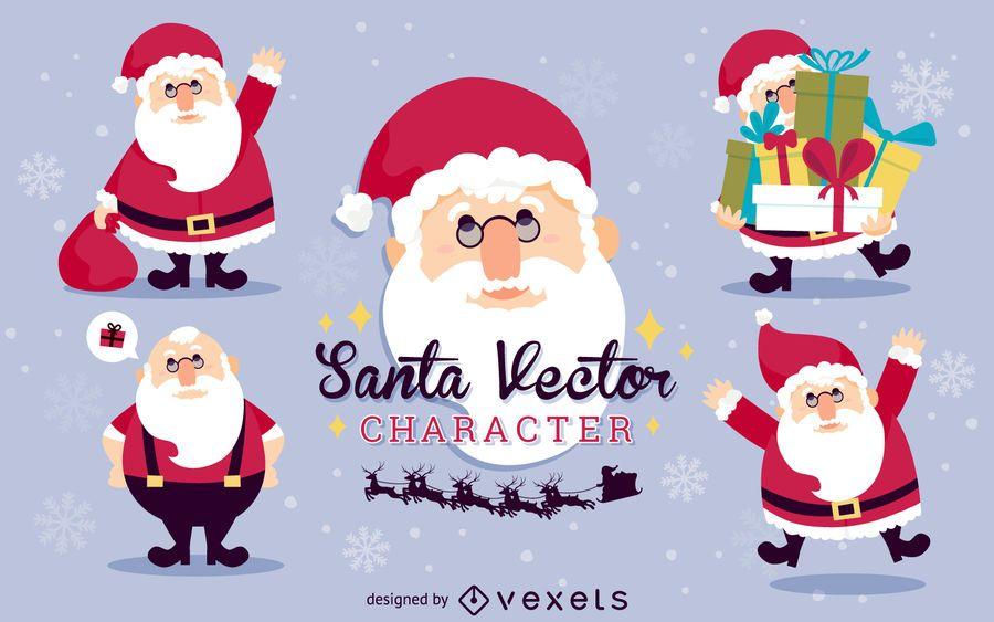 Flat Santa Claus illustration set