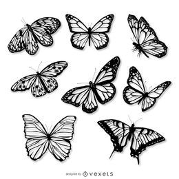 Conjunto de ilustração realista de borboleta