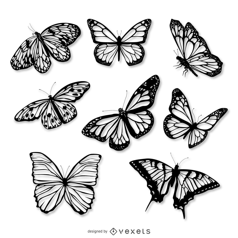 Conjunto de ilustração realista de borboletas
