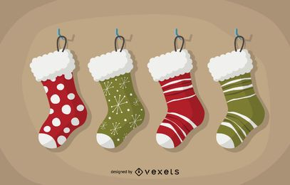 Flat Christmas stocking set