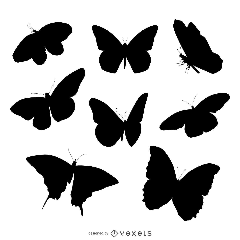 Conjunto de ilustração de silhueta de borboleta