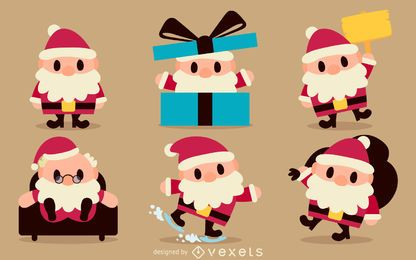 Santa cartoon illustration set