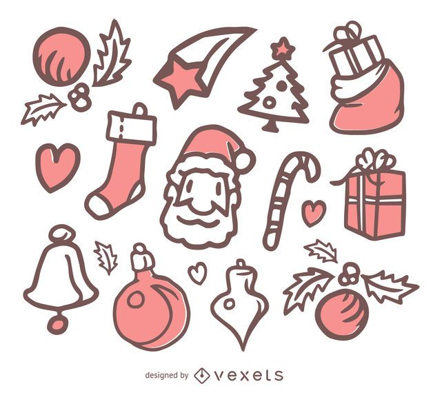Simple Christmas doodle set - Vector