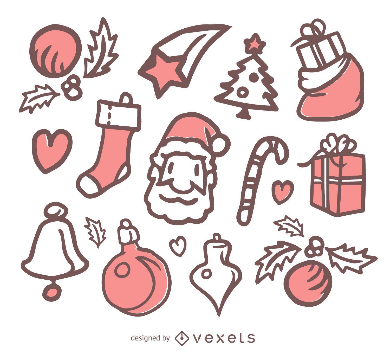 simple christmas doodle set vector download