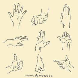 Conjunto de ilustración de signos de gestos con las manos