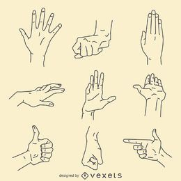 Conjunto de ilustración de signos de gestos de mano