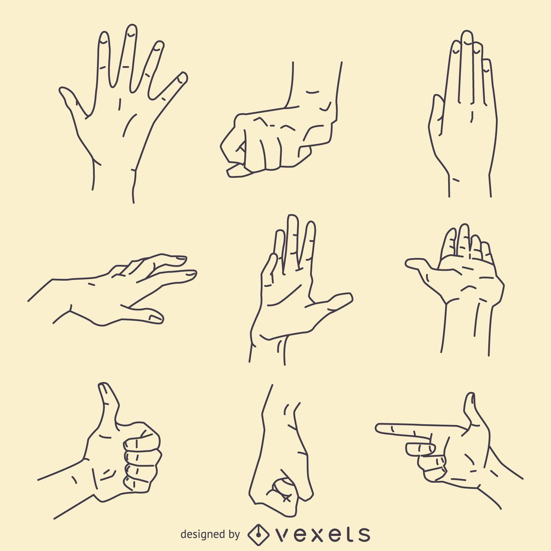 Hand gestures signs illustration set