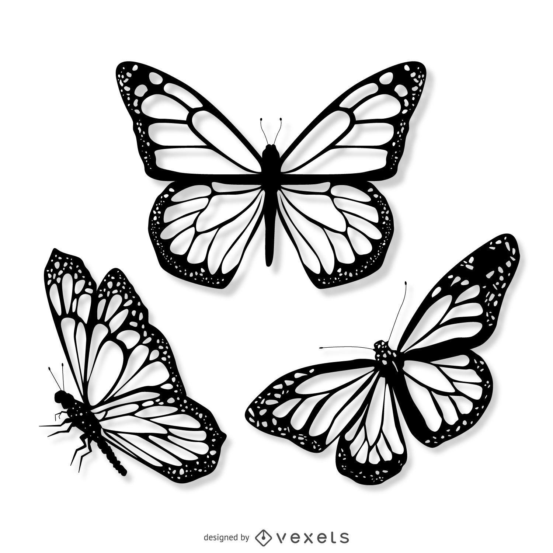 3 conjunto de ilustraciones de mariposas realistas