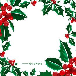 Square Christmas mistletoe frame