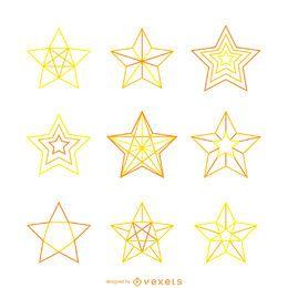 Conjunto de ilustraciones de estrellas amarillas aisladas