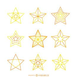 Conjunto de ilustrações de estrela amarela isolada
