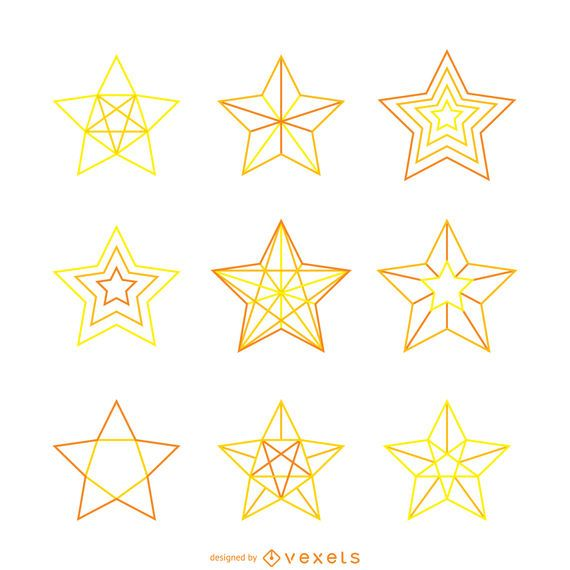 Isolated yellow star illustrations set