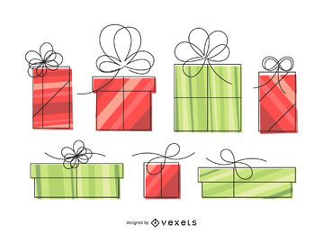 Isolated linear gift box illustration