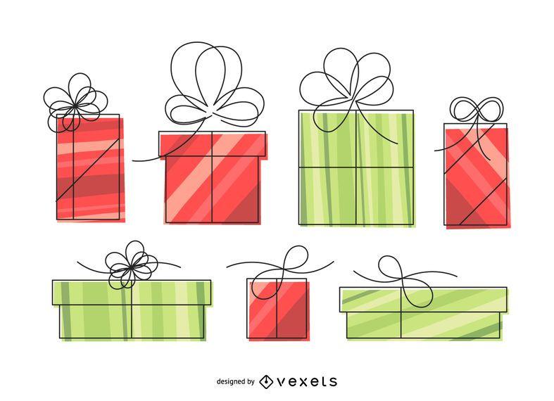 Ilustración de caja de regalo lineal aislada