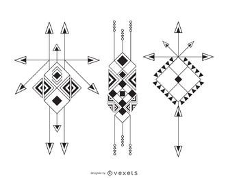 Conjunto de ilustração étnica boho
