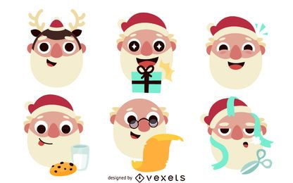 6 flat Santa Claus illustrations