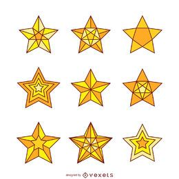 9 isolated star illustrations set