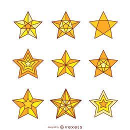 Conjunto de 9 ilustraciones de estrellas aisladas.