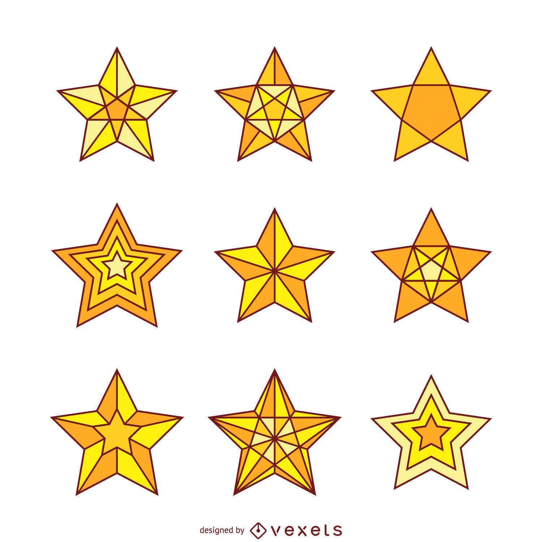 Conjunto de ilustraciones de 9 estrellas aisladas