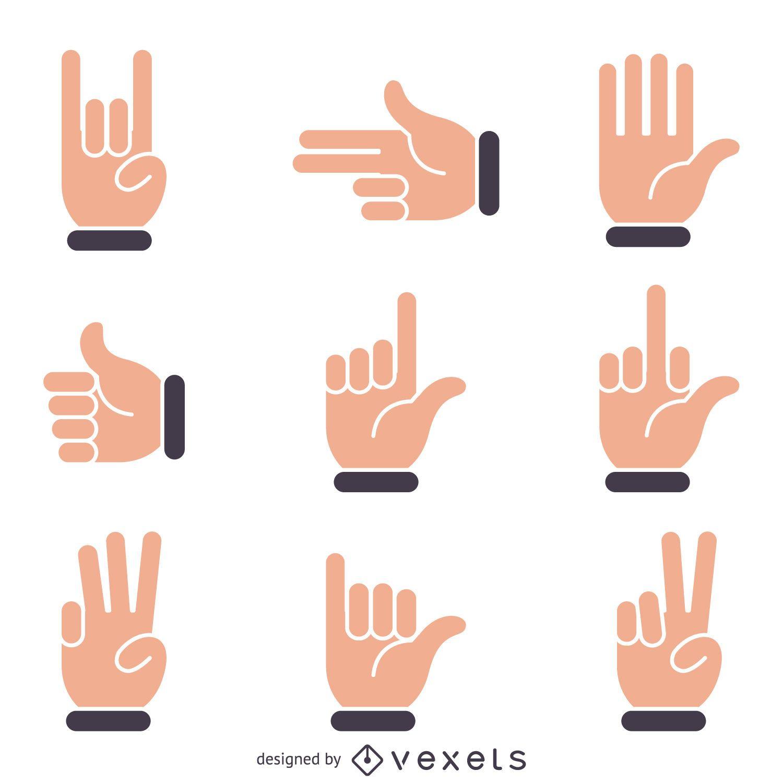 Flat hand signs illustrations