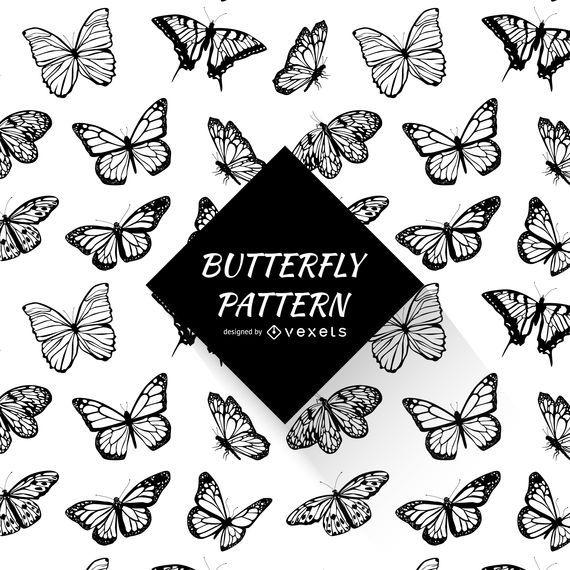 Patrón de mariposa blanco y negro