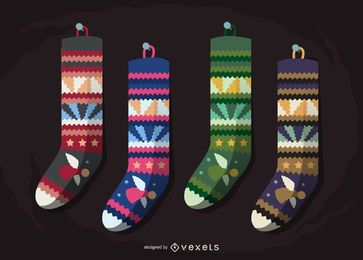Isolated Christmas stocking pattern