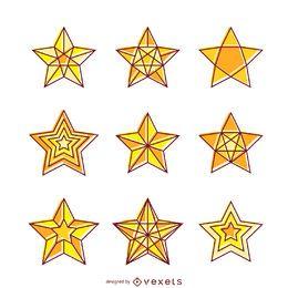 Conjunto de ilustração de estrelas amarelas brilhantes