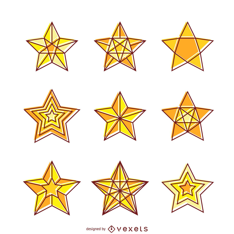 Bright yellow star illustration set