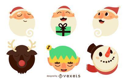 Flache Weihnachtsmann-Illustrationen