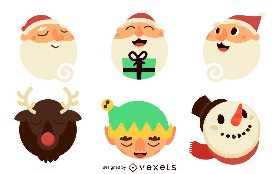 Flat Santa Claus illustrations