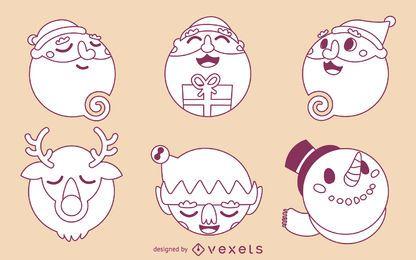Contornos de dibujos animados de navidad
