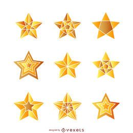 Isolated gradient star illustrations set