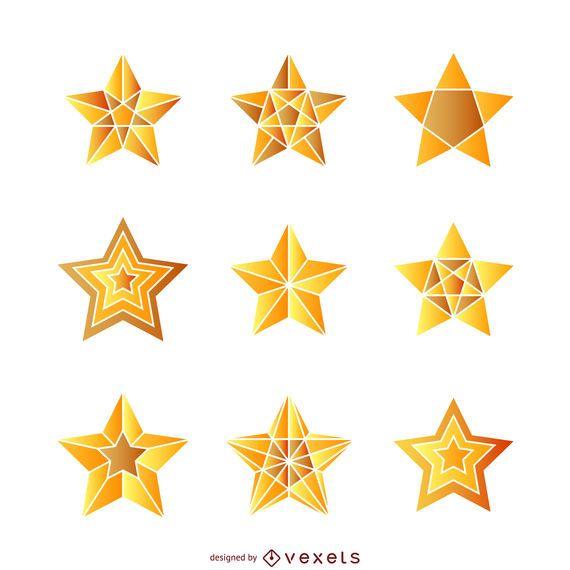 Conjunto de ilustraciones de estrellas gradiente aislado