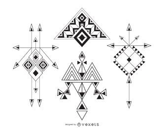 Geometric ethnic illustration set