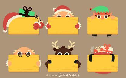 Flache Weihnachtsnachricht Zeichen