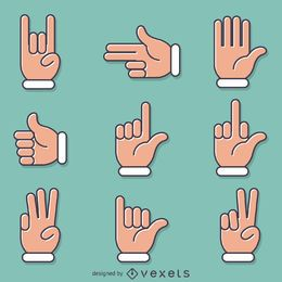 Conjunto de gestos de signos de mano plana