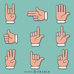 Flache Handzeichen Gesten gesetzt