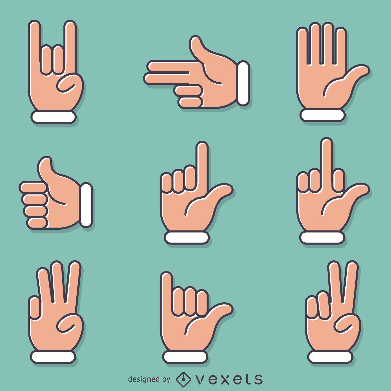 Flat hand signs gestures set