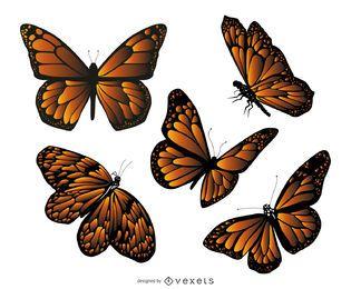 Conjunto de ilustração de borboleta monarca