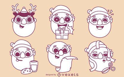 Conjunto de contornos de desenhos animados de Papai Noel