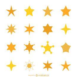 Estrella conjunto de iconos de la silueta
