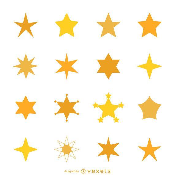 Star icon silhouette set