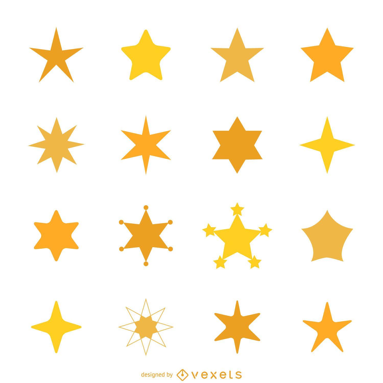 Conjunto de silueta de icono de estrella