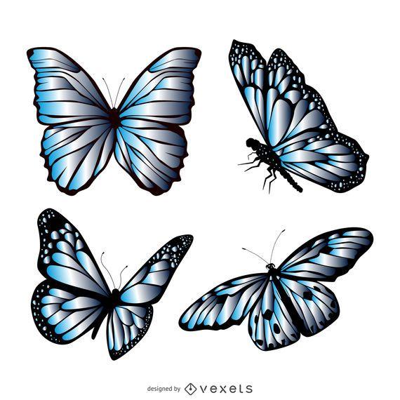 Conjunto de ilustración de mariposa azul