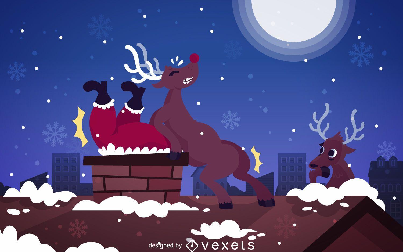 Gracioso chiste de Santa pegado en la imagen de la chimenea