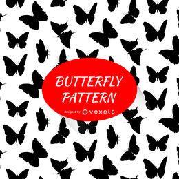 Padrão de silhuetas de borboleta