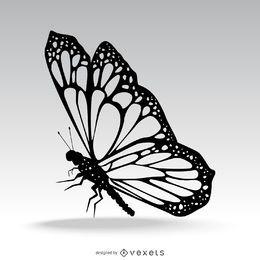 Ilustración de silueta de mariposa aislada