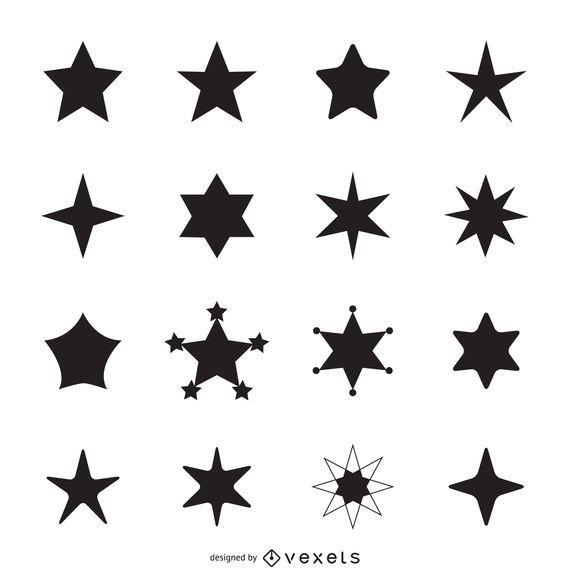 Siluetas simples de iconos de estrellas