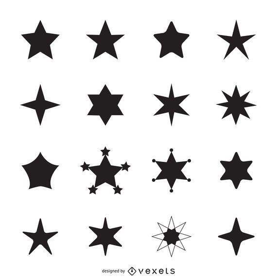 Simple star icon silhouettes